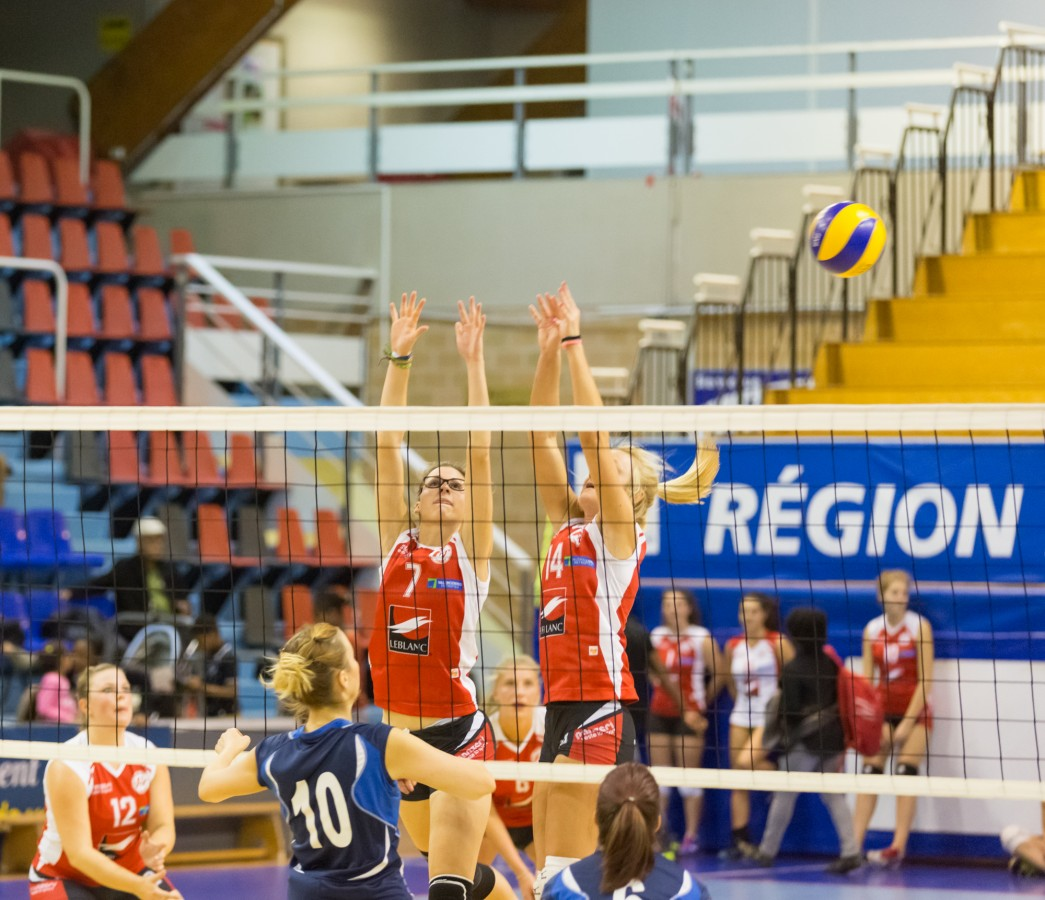 Photographie du match de volley qui opposait le Volley Club de Valenciennes face à Arques. Victoire 3 à 1 pour Valenciennes.